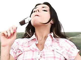 Passionate elma licks and sucks the sweet chocolate ice cream treat from her nipples.
