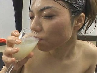 Erika Ando gets spunk all over her face and bod  collects spunk in a glass and drinks it after.