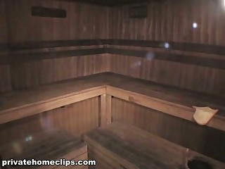 From this movie scene filmed by spy webcam in the sauna it's obviously seen that hot babe in funny hat is very hot and she spreads her legs demonstrating her trimmed beaver and thick cookie lips while dreaming about perfect skin!