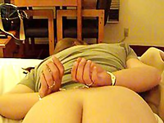 This fat aged is willing to go some lengths to spice up her marital sex life. In this stolen homemade video, that babe is featured wearing handcuffs face down on their bed, while her husband gently and carefully lubes her asshole, hidden well between her immense wazoo cheeks.