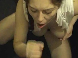 Slutty dark brown bitch squats down with a pecker in her face and that honey doesn't really even want to engulf it. This honey jerks it off and patiently waits with her open mouth to smack the sweetness of cum.