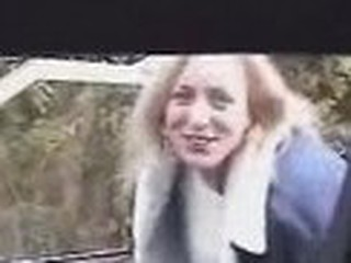 Golden-haired does BJ in passenger car