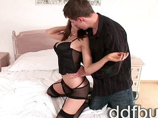 Pleasant busty brunette hair Simi seduces young man Brad to treat her big breasts & fuck her tight fuckbox in sexy undies & stockings! The horny honey does her job so well including a sexy cock-sucking action that the guy soon pumps his sexy cum on the gi