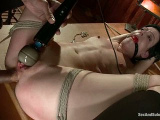 Sweet slave girl Elise Graves with taut butthole and soaked pink gap gets restrained before unmerciful man with rock hard cock fucks her. This chab sticks it in her pussy and then in her butt.
