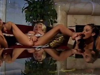 Barefoot lesbo threesome has lots of toe deep-throating and foot munching