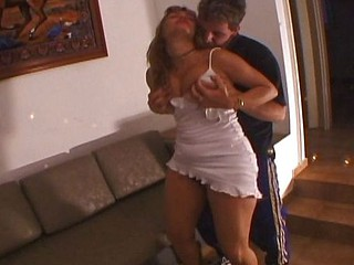 Mature blond with a nice large wazoo eats his stiff knob and gets nailed hard