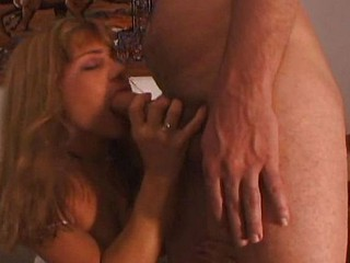 Mature golden-haired with a nice big butt eats his stiff rod and receives nailed hard