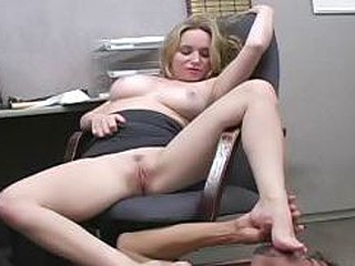 Office slut makes the janitor lick her perspired armpit & feet
