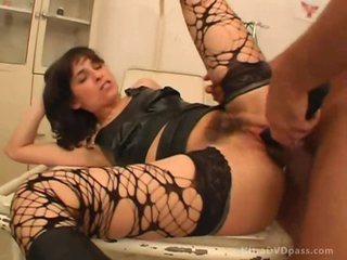 Perverted Slut Gets Her Hairy Muff Fucked Wearing a Bondage Hood
