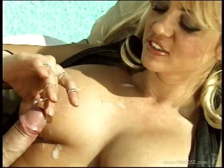 Steaming Blonde Mummy Sindee Coxx Gets Her Knockers Overspread In Cum Outdoors