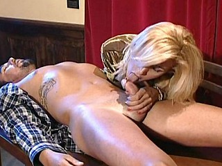 Wicked blonde ladyboy bitch makes out with a tattooed chap and gets nailed