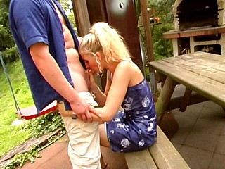 Wicked german housewife gets dildo drilled in her backyard