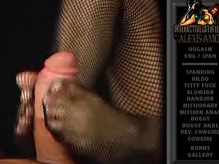Hot Latina hottie Alexis Amore gives a footjob with her feet in fishnets