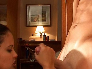 Brunette and golden-haired babes go to work on his hard shlong in trio