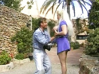 Fat mature blonde does a photo shot outdoors and fucks the photographer
