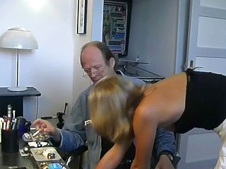 Sexy blonde girl can't decide which cock to suck and fuck so that babe does them both