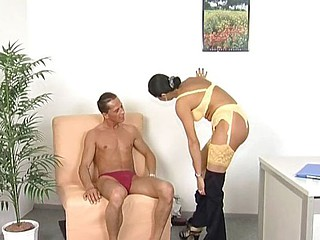 Sexy german nympho in a yellow garter belt blows with the addition of rides