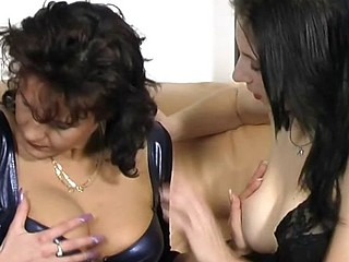 Three horny lesbian sluts carry out always other's cunts at bottom the couch