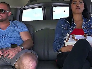 Asian cutie with worthwhile body Angelina is taking a ride in famous Bang Bus with hot guys