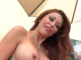 Redhead hottie Monique Alexander is having intense pleasure engulfing plus fucking this cock