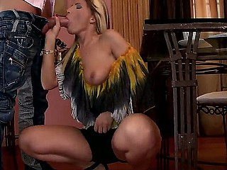 Amazing milf Tiffany Rousso pleases hunk by giving him an awesome blowjob