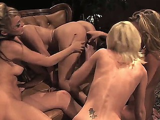Alarming turned on lezzies Ava Rose, Carli Banks, Celeste Star, Charlie Laine with an increment of Neveah have wild wet orgy