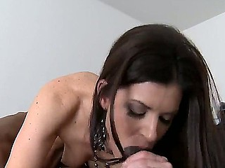 Enjoy bewitching sexy brunette MILF India Summer engulfing monster ebony tool