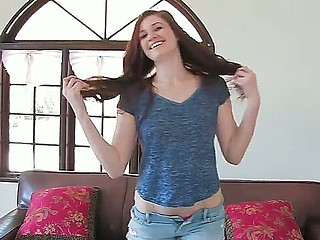 Dazzling redhead Jessica Madison is eager to sky with an increment of deep spatter her tight little twat