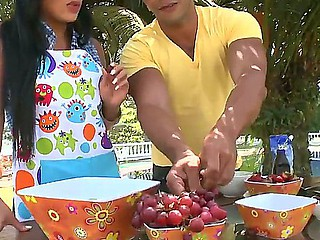 Celeste cooking disappointing outdoors! Out of this world brunette got help from disappointing fucker at cooking outdoors coupled with fucked him!