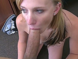 Adorable tattooed tanned golden-haired Autum Lee with surprising blue eyes taks on huge meaty cannon in point of view