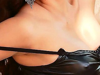 Attractive experienced asian floozy Danika in arousing black outfit together with overweening heels discloses the brush shaved twat outdoor