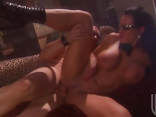 Busty Brunette hair In Glasses Getting Fucked And Facialized