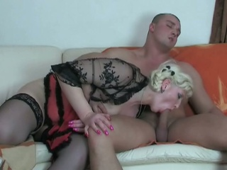 Golden-haired european mummy receives pounded by a young stud