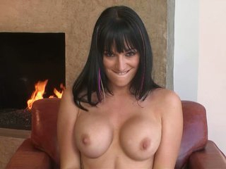 Breasty Destiny Dixon sreads her legs by the fireplace