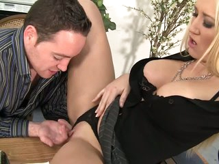 Milf boss Alana Evans spreads for lucky man