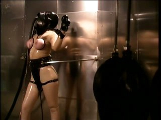 Fastened Submissive Lesbo Slut Paige Richards Wears a Gas Mask