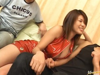 Buxom Megu Hayasaka Receives Nailed added to Creampied in a Trio