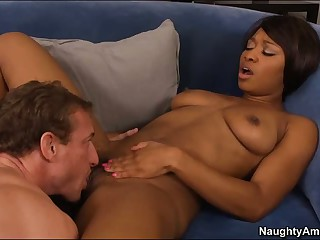 Scrounger enjoys sex with hot black unshaded Imani Rose