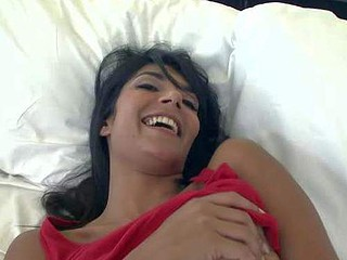 Treacherous haired ethnic babe Shazia Sahari with natural special plays