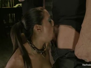Sumptuous Layla Storm chokes on a huge prick