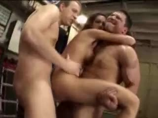 Chaps in the warehouse gangbang this cum whore