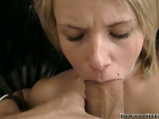 Elfin skirt gets faced fucked by Rocco Siffredi