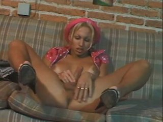 Alone blonde shemale tease and stroke