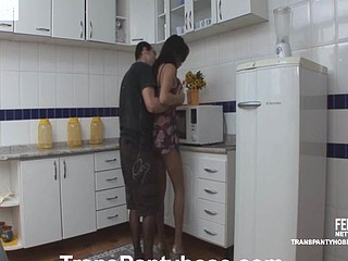 Naughty shemale in stylish tights having fucking lunch break in the kitchen