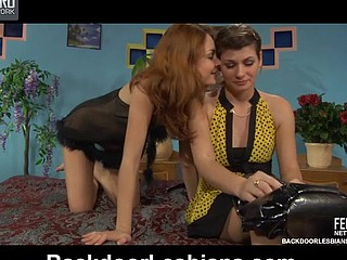 Wicked lesbian playgirl going for wild anal feast with a strap-on armed chick