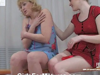 Wicked ponytailed girlie fondle mellow older boobs in advance of strap-on enactment
