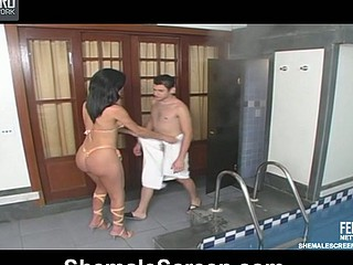 Smashing shemale giving insane chap hell whilst booty-banging him by the pool