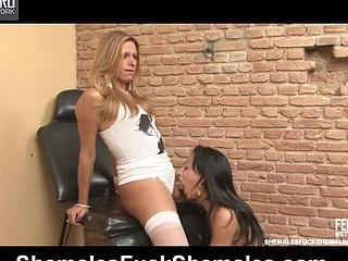 Nicole&Patricia leggy transsexuals on video