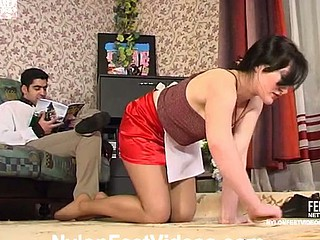 Concupiscent French maid unclouded her tasty nylon feet in shtick of scalding guy