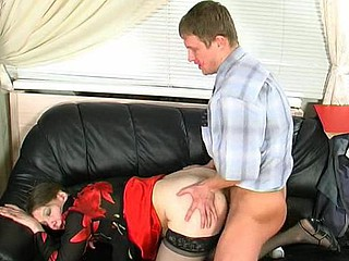 Hot mom and her younger co-worker getting to from-behind fuck at lunch hour